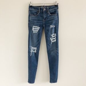 American Eagle Jegging Distressed Blue Skinny Jean
